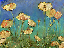 Yellow Orange Poppies on Blue by Denise Souza Finney (Acrylic Painting)