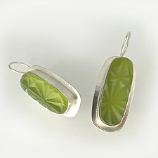 Vintage Green Long Rectangle Earring by Amy Faust (Art Glass & Silver Earrings)
