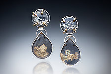 Slate with Gold Earrings by Nina Mann (Gold, Silver & Stone Earrings)