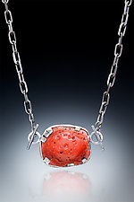 Coral and Sterling Necklace by Nina Mann (Silver & Stone Necklace)