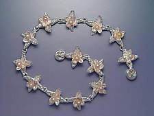Pointed Bloom Bracelet with Pearls by Ellen Vontillius (Silver & Pearl Bracelet)