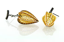 Threaded Golden Fruit Earrings by Sooyoung Kim (Gold & Silver Earrings)
