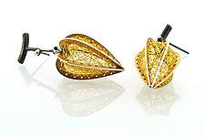 Threaded Golden Fruit Earrings by Sooyoung Kim (Gold & Silver Earrings)