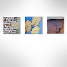 Jason Leaf Blue Las Vegas Triptych by John Boak (Photograph on Aluminum)