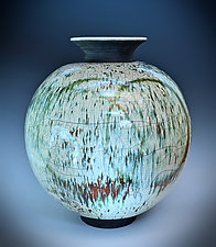 Green Rain Double Circle Raku Vase by Tom Neugebauer (Ceramic Vase)