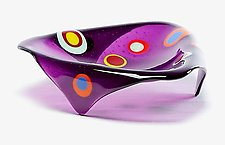 Small Triangle Stepping Stone Bowl: Violet by Ed Edwards (Art Glass Bowl)