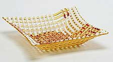 Light Amber Double Wave Square Glass Basket by Ed Edwards (Art Glass Bowl)