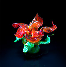 Sunrise Flower by April Wagner (Art Glass Sculpture)