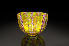 Yellow Wide Zanfirico Bowl by April Wagner (Art Glass Bowl)