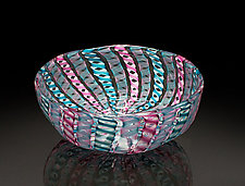 Pink & Blue Zanfirico Bowl by April Wagner (Art Glass Bowl)