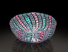 Pink & Blue Zanfirico Bowl by April Wagner (Art Glass Bowl)