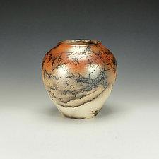 Horse Hair Raku Jar by Lance Timco (Ceramic Vessel)