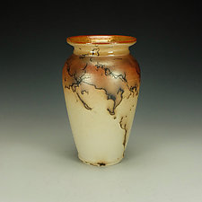 Horse Hair Raku Jar by Lance Timco (Ceramic Vessel)