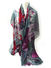 Floral Shawl in Gray Red by Yuh  Okano (Wool Shawl)
