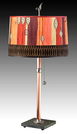 Copper Table Lamp with Large Drum Shade in Leaf Stripe Red
