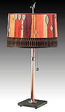 Copper Table Lamp with Large Drum Shade in Leaf Stripe Red by Janna Ugone (Mixed-Media Table Lamp)