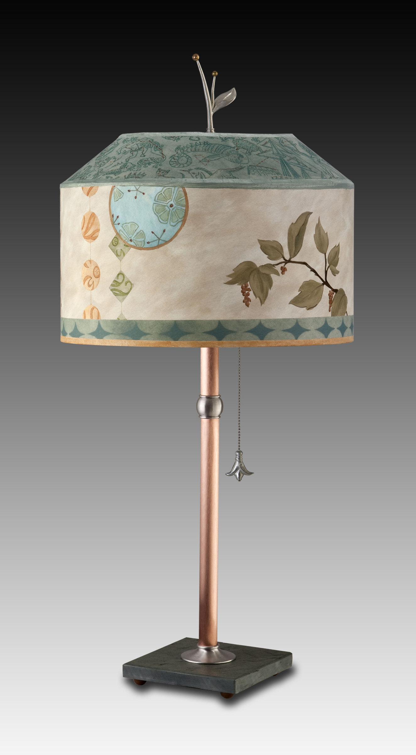 Copper Table Lamp with Medium Canopy Shade in Celestial Leaf