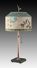 Copper Table Lamp with Medium Canopy Shade in Celestial Leaf by Janna Ugone and Justin Thomas (Mixed-Media Table Lamp)