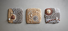 Centripetal Triptych by Christopher Gryder (Ceramic Wall Sculpture)