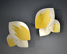 Triple Leaf Earring by Judith Neugebauer (Gold & Silver Earrings)