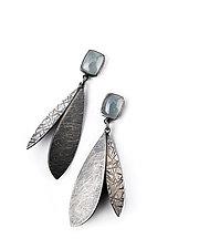 Double Feather Linear Drop Earrings by Linda Azar (Silver & Stone Earrings)