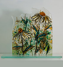 Shasta Daisy Dance by Alice Benvie Gebhart (Art Glass Sculpture)