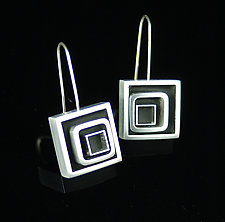 Swirl Square Earrings by Melissa Stiles (Aluminum & Resin Earrings)