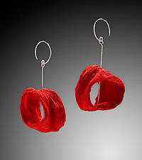 Red Hammered Joomchi Earrings by Nancy Raasch (Silver & Paper Necklace)
