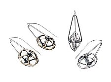 Spinning Gear Earrings by Connie Verrusio (Silver & Brass Earrings)