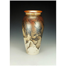 Horse Hair Raku Jar by Lance Timco (Ceramic Vase)