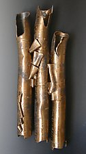 Birch in Bronze Three by Lenore Lampi (Ceramic Wall Sculpture)