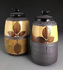 Rose Leaf Jars with Bird Knobs by Suzanne Crane (Ceramic Vessel)