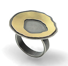 Small Single Rough-Cut Ring by Lisa Crowder (Gold & Silver Ring)