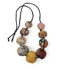 Silk Kantha Convertible Necklace by Mieko Mintz  (Silk Necklace)