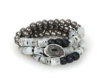 Wrap-Around Bracelet with Gray African Glass Beads by John Siever (Beaded Bracelet)