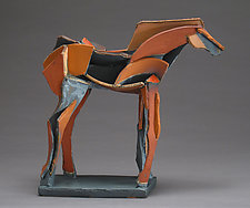 Dark Horse on the Move by Jeri Hollister (Ceramic Sculpture)