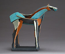 Turquoise Cubist Horse by Jeri Hollister (Ceramic Sculpture)