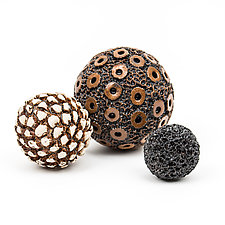 Textural Rattle Sculpture Trio by Kelly Jean Ohl (Ceramic Sculpture)