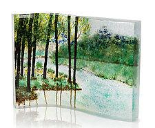 Mountain Lakeland Spring by Amanda Taylor (Art Glass Sculpture)