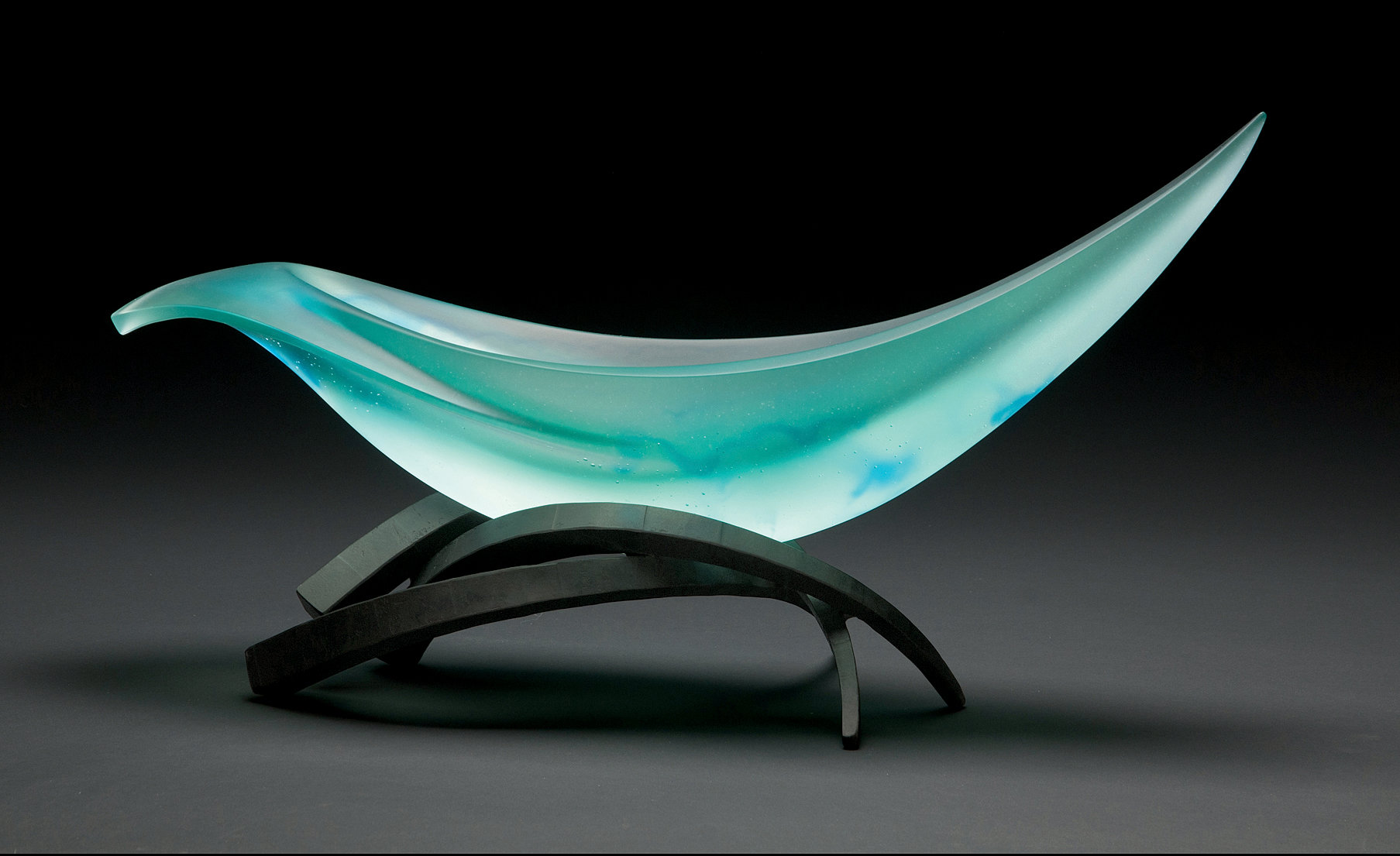 Artful Home Elliptical Vessel In Lagoon And Aqua By Brian Russell Art Glass