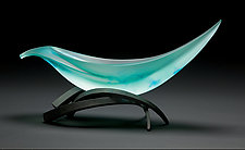 Elliptical Vessel in Lagoon and Aqua by Brian Russell (Art Glass Sculpture)