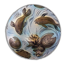 Koi and Lily Pads disk by Natalie Blake (Ceramic Wall Sculpture)