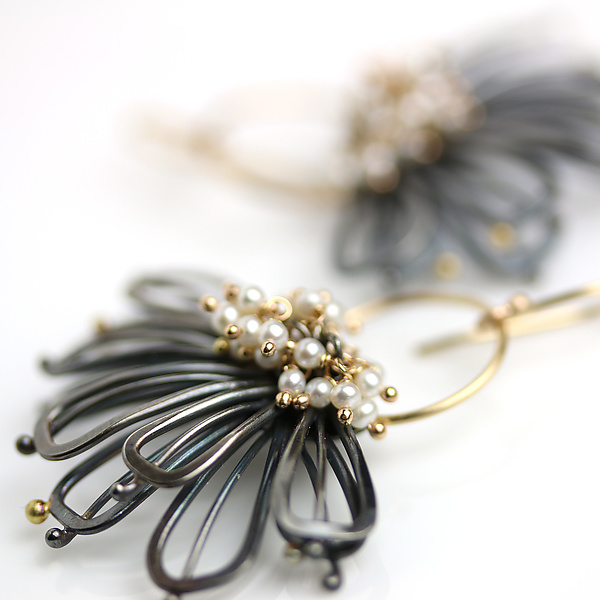 Midnight Petals and Pearl Clusters Earrings