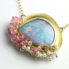 Opal with Pink Tourmaline and Pearl Fringe by Wendy Stauffer (Gold, Silver & Stone Necklace)