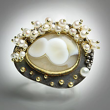 Ocean Jasper Pearls and Gold Dots Ring by Wendy Stauffer (Gold, Silver & Pearl Ring)