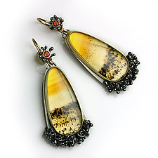Montana Moss Agate Earrings with Fire Citrine by Wendy Stauffer (Gold, Silver & Stone Earrings)
