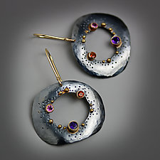 Dotted Pebble Dangles by Wendy Stauffer (Gold, Silver & Stone Earrings)