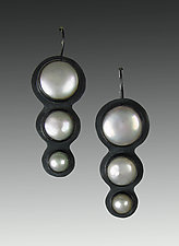 Freshwater Pearl Three Tier Descending Drop Earrings by Julie Long Gallegos (Silver & Pearl Earrings)