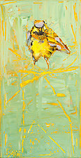 Chickadee on an Orange Branch by Janice Sugg (Oil Painting)