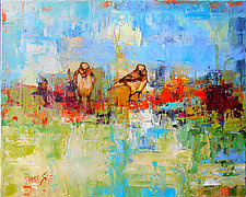 Two Birds in a Blue Sky by Janice Sugg (Oil Painting)